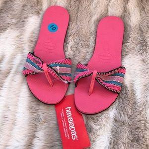 NWT HAVAIANAS Brazilian flip flop sandals hot pink